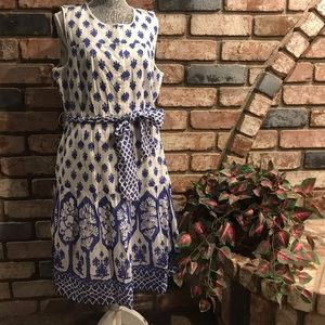 J CREW Silk/Cotton block print sleeveless dress
